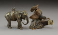 Decorative Arts, Continental, Two Continental Patinated and Gilt Bronze Animal-Form CigarCutters, late 19th-early 20th century. Marks to turkey-form ciga...(Total: 2 Items)