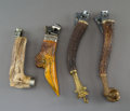 Decorative Arts, Continental, Four Horn and Metal Figural Cigar Cutters, late 19th century .Marks to bird's head-form cigar cutter: 925, 10, (undecip...(Total: 4 Items)
