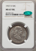 Franklin Half Dollars, 1957-D 50C MS67 Full Bell Lines NGC. CAC....