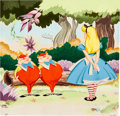 Animation Art:Production Drawing, Alice Meets the White Rabbit Tweedledee and Tweedledum Painted Illustration by Mel Crawford (Simon and Shuster, 1951)....