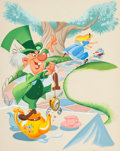 Animation Art:Production Drawing, Alice in Wonderland Mad Hatter Book Illustration by Mel Crawford (Walt Disney/RCA, 1951)....