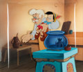 Animation Art:Production Cel, Pinocchio Geppetto and Pinocchio Production Cel with Custom Overlay and Painted Background (Walt Disney, 1940)....