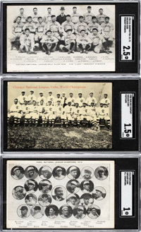 1906 - 1910 Chicago Cubs Post Cards SGC-Graded Trio (3)