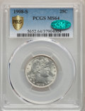 Barber Quarters, 1908-S 25C MS64 PCGS. CAC....
