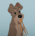 "Animation Art:Production Cel, Lady and the Tramp Tramp with ""Bella Notte"" SpaghettiProduction Cel (Walt Disney, 1955)...."
