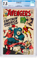 Silver Age (1956-1969):Superhero, The Avengers #4 (Marvel, 1964) CGC VF- 7.5 Cream to off-white pages....