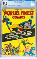 Golden Age (1938-1955):Superhero, World's Finest Comics #10 (DC, 1943) CGC VF+ 8.5 Off-white to white pages....