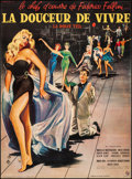 """Movie Posters:Foreign, La Dolce Vita (Consortium Pathe, 1960). Very Fine- on Linen. Full-Bleed French Grande (46"""" X 62.25"""") Yves Thos Artwork. Fore..."""
