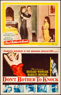 "Don't Bother to Knock (20th Century Fox, 1952). Fine/Very Fine. Title Lobby Card & Lobby Card (11"" X 14&quo..."