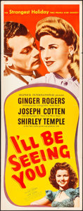 """Movie Posters:Drama, I'll Be Seeing You (United Artists, 1944). Folded, Fine+. Insert (14"""" X 36""""). Drama.. ..."""