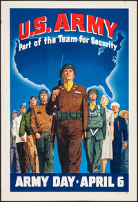 "Army Day (c.1940s). Rolled, Very Fine-. Poster (17"" X 25"") ""Part of the Team for Security."" War"