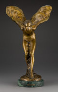 Sculpture, After Charles Robinson Sykes (British, 1875-1950). Spirit of Ecstasy. Patinated bronze on marble base. 22-1/8 x 13-1/2 x...