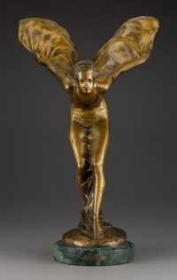After Charles Robinson Sykes (British, 1875-1950) Spirit of Ecstasy Patinated bronze on marble base<