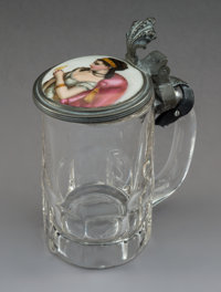 A Continental Porcelain and Glass Covered Stein, early 20th century 6-3/8 x 4-1/2 x 3 inches (16.2 x 11.4 x 7.6 cm
