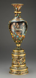 Glass, A Moser Enameled and Gilt Glass Vase, Karlsbad, Czech Republic, circa 1900. Marks: 646, MOSER., D.503. 24-5/8 x 10 inche...