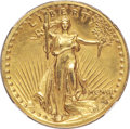 High Relief Double Eagles, 1907 $20 High Relief, Wire Rim -- Cleaned -- NGC Details. Unc....