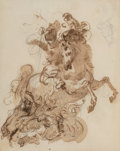 Works on Paper:Drawing, Giuseppe Bernardino Bison (Italian, 1762-1844). St. George and the dragon. Sepia ink and wash over graphite on cream wov...