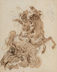 Giuseppe Bernardino Bison (Italian, 1762-1844) St. George and the dragon Sepia ink and wash over gra
