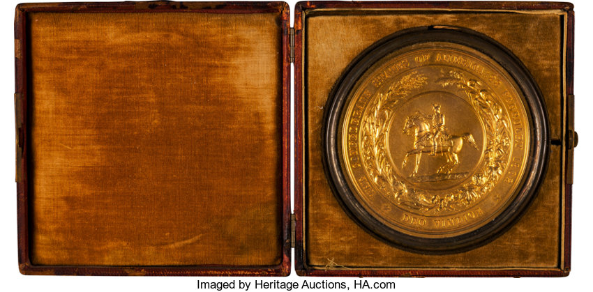Military & Patriotic:Civil War, Gold Plated Great Seal of the Confederate States of AmericaPersonally Owned by Otho Robards Singleton, Mississippi Delegate...