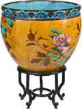 Ceramics & Porcelain, A Large French Faience Jardinière with Wood Stand, circa 1900. 26 x 20-1/4 inches (66.0 x 51.4 cm) (with stand). ...