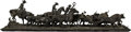 Sculpture, Humberto Peraza (Mexican, b. 1925). A Cattle Drive. Bronze with brown patina. 9-1/2 x 41-1/2 x 12 inches (24.1 x 105.4 x...