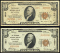 National Bank Notes:Colorado, Denver, CO - $10 1929 Ty. 1 The Colorado NB Ch. # 1651 Fine-VF;. Denver, CO - $10 1929 Ty. 2 The Colorado NB... (Total: 2 notes)