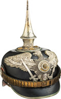 Militaria:Helmets, Imperial German Prussian Guard Officers Spiked Helmet With Brunswick Traditions Badge.. ...