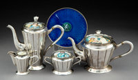 A Four-Piece Continental Silver and Porcelain Tea and Coffee Service with French Gilt Silver and Guilloché Enamel...