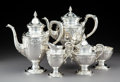 Silver Holloware, American, A Five-Piece Mueck-Cary Co., Inc. Silver Tea and Coffee Service,New York, circa 1950. Marks: (Mueck-Cary cipher), STERLIN...(Total: 5 Items)