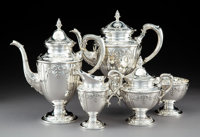 A Five-Piece Mueck-Cary Co., Inc. Silver Tea and Coffee Service, New York, circa 1950 Marks: (Mueck-Cary cipher), STERLI...