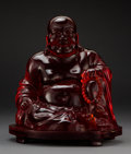 Other, An Chinese Amber Epoxy Resin Buddha on Carved Wood Stand, late 20th century. 15-1/2 x 11-1/4 x 11-1/4 inches (39.4 x 28.6 x ...