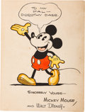 Animation Art:Poster, Mickey Mouse Hand-Colored Fan Card (Walt Disney, c. early1930s)....