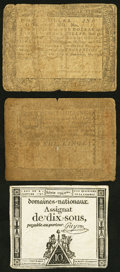 Colonial Notes:Maryland, Maryland August 14, 1776 $1 1/3 Good;. Pennsylvania October 1, 1773 2s Good;. France Domaines-Nationaux Assignat 10 So... (Total: 3 notes)
