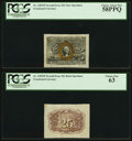 Fr. 1283SP 25¢ Second Issue Wide Margin Pair PCGS Graded