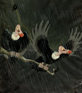 Animation Art:Production Cel, Snow White and the Seven Dwarfs Two Vultures Production CelCourvoisier Setup (Walt Disney, 1937)....