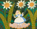 Animation Art:Concept Art, Mary Blair Alice in Wonderland Alice and Flowers ConceptPainting (Walt Disney, 1951)....
