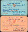 """Baseball Collectibles:Others, 1954-1956 Enos Slaughter """"Association of Professional Baseball Players of America"""" Passes Lot of 2 from The Enos Slaughter Col..."""