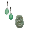 Estate Jewelry:Lots, Jadeite Jade, White Gold Jewelry . ... (Total: 2 Items)