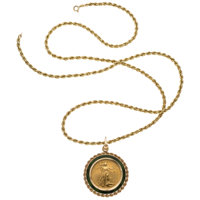 Nephrite, U.S. Gold Coin, Gold Pendant-Necklace