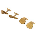 Estate Jewelry:Other, Gold Cuff Links. ... (Total: 2 Items)
