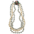 Estate Jewelry:Necklaces, Freshwater Cultured Pearl, Multi-Stone, White Gold Necklace. ...