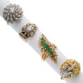 Estate Jewelry:Rings, Diamond, Emerald, Gold Rings . ... (Total: 4 Items)