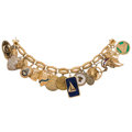 Estate Jewelry:Bracelets, Lapis Lazuli, Glass, Enamel, Gold, Sterling Silver, Base MetalCharm Bracelet. ...