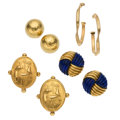 Estate Jewelry:Earrings, Lapis Lazuli, Gold Earrings. ... (Total: 4 Items)