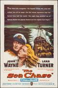 """Movie Posters:War, The Sea Chase (Warner Brothers, 1955). Folded, Fine/Very Fine. One Sheet (27"""" X 41""""). War.. ..."""