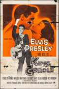 "Movie Posters:Elvis Presley, King Creole (Paramount, 1958). Folded, Fine-. One Sheet (27"" X 41"")& Lobby Cards (4) (11"" X 14""). Elvis Presley.. ... (Total: 5Items)"