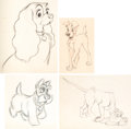 Animation Art:Production Drawing, Lady and the Tramp Animation Drawings Group of 4 (Walt Disney, 1955).... (Total: 4 Items)