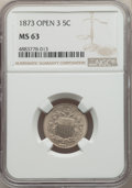 Shield Nickels, 1873 5C Open 3 MS63 NGC. NGC Census: (35/89). PCGS Population: (56/124). CDN: $375 Whsle. Bid for problem-free NGC/PCGS MS6...