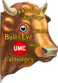 Advertising:Signs, Vintage UMC Shooting Gallery Bull's Eye Metal Advertising Sign.. ...