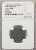 1652 Pine Tree Shilling, Small Planchet -- Holed -- NGC Details. VF. NGC Census: (14/89). PCGS Population: (36/333). CDN...